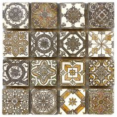 Spanish Revival   Accent tile   Deco Dot   #naturalstone; these 1x1 tiles are also available in any stone type and size you would like.  Many people love to individualize the patterns and enlarge them to place around their walls and floor