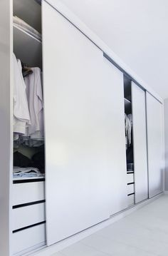 If your old fitted wardrobe doors are starting to look a little battered and tired you may think about removing them or having an entirely new installation. A very simple shift in wardrobe door style can easily considerably alter the look of the wardrobe. Fitted Wardrobe Doors, Sliding Door Wardrobe Designs, Wooden Wardrobe, Wardrobe Design Bedroom, Bedroom Wardrobe, Wardrobe Closet, Closet Designs, Modern Closet Doors, White Wardrobe
