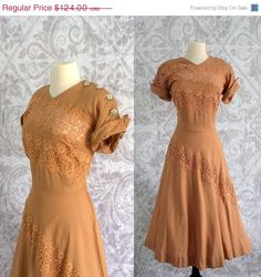 1940s Butterscotch Linen Lace Dress with Rhinestone Buttons $94.00