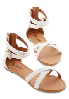 Crisscross My Path Sandal. Youre ready for whatever adventures await you today in the casual style of these white sandals! #white #modcloth