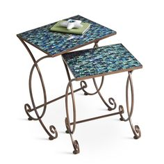 Our Cerulean Mosaic Nesting Tables maximize space in a beautiful way