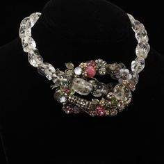 Miriam Haskell Clear Beaded Floral Necklace with glass beads, rhinestones & seed pearls