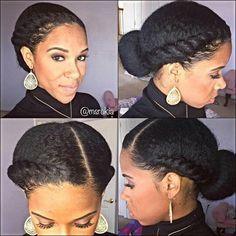 Looking for a way to wear your hair but without needing to rely on cornrows? You need to check out these gorgeous flat twist hairstyles! Pelo Natural, Natural Hair Tips, Natural Hair Inspiration, Natural Hair Styles, Simple Natural Hairstyles, Professional Natural Hairstyles, Natural Hair Updo, Going Natural, 4c Hair