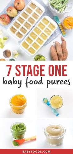 Learn to make your own homemade baby food purees with this easy DIY guide. You'll make seven delicious stage one baby food recipe combinations that will last two months! It doesn't get any easier (or cheaper) than this. Easy, healthy homemade baby food is just 2 hours and $20 away! #babyfood #homemade #diy #6months #frugal #organic Baby Puree Recipes, Pureed Food Recipes, Baby Food Recipes, Cooking Recipes, First Finger Foods, Baby First Foods, Healthy Baby Food, Homemade Baby Foods, Kitchen Recipes