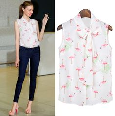 Flamingo Print Sleeveless Chiffon Blouse. A pussy bow AND flamigos?? I must have it.