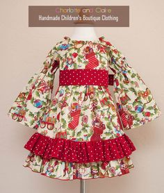 Christmas Peasant months to 4 years- baby, toddler, girl by charlotteandclaire on Etsy Toddler Girl Christmas Dresses, Little Girl Dresses, Girls Dresses, Boutique Clothing, Dress Outfits, 4 Years, Fancy, 12 Months, Couture