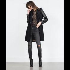 ZARA TRENCH COAT/LEATHER SLEEVES NEW! Black/ leather sleeves Zara Jackets & Coats Trench Coats