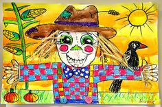 such a CUTE scarecrow!  Watercolor resist with oil pastels and real hay and buttons!