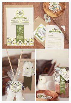 u+u wedding stationery line - green, deer & fox