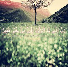 "رَبِّ إِنِّي لِمَا أَنْزَلْتَ إِلَيَّ مِنْ خَيْرٍ فَقِيرٌ ""My Lord, indeed I am in need of whatever good you send down to me."" - Dua of Prophet Musa (as) (Surat al-Qasas; Quran 28:24)"