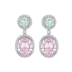 «Kiki McDonough» Round Mint Green Tourmaline and Oval Morganite Drop Earrings