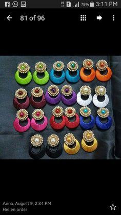 Silk Thread Earrings Designs, Silk Thread Bangles Design, Silk Thread Necklace, Silk Bangles, Beaded Necklace Patterns, Thread Jewellery, Fabric Jewelry, Jewelry Patterns, Silk Thread Jumkas