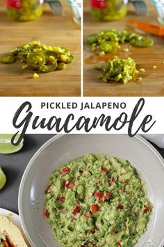 Y'all, this may look like regular ol' guacamole, but it has an extra kick! Instead of chopped jalapenos and lime juice, you make this easy guac with *pickled jalapenos* and the juice from the pickle jar.     🥑 It's tangy with a spicy kick and so, so addictive.    ↗Click the image to get the full recipe!    #guacamole #pickledjalapenos #spicy #vegan #veganpartyfood #dips Vegan Blogs, Vegan Breakfast Recipes, Delicious Vegan Recipes, Healthy Recipes, Bbq Tofu, Vegan Party Food, Vegan Nachos, Mashed Avocado, Guacamole Recipe