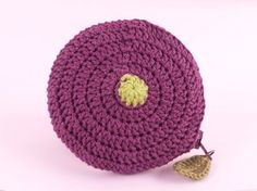 'Fig Top' crochet coin purse by Tom West of Teapot Magpie, available to order from the Teapot Magpie Etsy shop