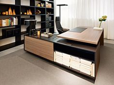 L-shaped sectional executive desk