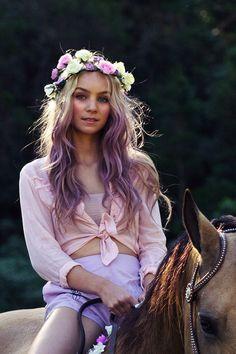 Pastel purple hair with floral crown Pastel Purple, Purple Hair, Ombre Hair, Purple Ombre, Purple Tips, Violet Hair, Purple Roses, Blonde Hair, Dip Dye Hair