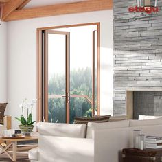 Natural stone wall cladding and Gorgeous double and triple glazed windows made with a large selection of exclusive wood products.   Our designer windows provide climate and sound control that is not possible with standard glass products.   Call us today to find out more!