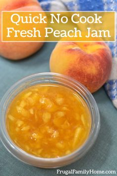 A simple 4 ingredient recipe for homemade peach freezer jam. This video tutorial can take you from peeling to packaging and everything in between. The perfect tutorial for the beginning jam maker. Freezer Jam Recipes, Jelly Recipes, Freezer Cooking, Fruit Recipes, No Cook Peach Freezer Jam Recipe, Dessert Recipes, Desserts, Raspberry Freezer Jam, Recipes