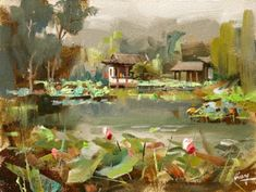 "qiang-huang, a daily painter: ""Lotus Garden at West Lake"" --- Sold Landscape Art, Landscape Paintings, Landscapes, Lotus Kunst, Water Pictures, Daily Painters, West Lake, Acrylic Art, Acrylic Paintings"