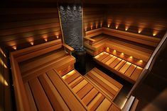 Spa Interior Design, Corporate Interior Design, Sauna Steam Room, Sauna Room, Saunas, Bathroom Lighting Inspiration, Sauna Lights, Mobile Sauna, Piscina Spa
