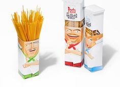 This package design is awesome because its unique. Its clever how the pasta looks like the hair.