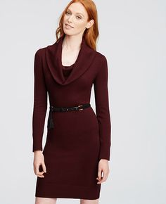 Image of Cowl Neck Sweater Dress color Classic Plum