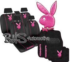 Playboy Metallic Car Seat Cover Floor Mat Combo PINK Separate Headrest