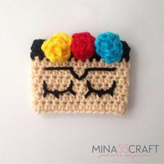 Frida Cup Cozy - crochet mug cozy Crochet Coffee Cozy, Crochet Cozy, Crochet Gifts, Crochet Yarn, Free Crochet, Crochet Jar Covers, Yarn Cake, Basic Crochet Stitches, Crochet Patterns For Beginners