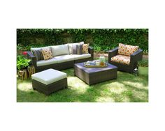 AE Outdoor Biscayne 5-Piece Wicker Sectional Seating Patio Furniture Set