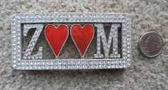 Buckle, Vintage Rhinestone Bling ZOOM Red Hearts, Western Wear, Friday Night Lights by HobbitHouse on Etsy