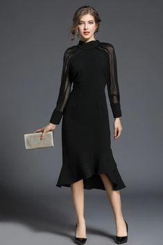 Women's A Line Dresses, Prom Dresses Long With Sleeves, Lace Dresses, Party Dresses, Robe Swing, Swing Dress, Black Evening Dresses, Elegant Dresses, Club Cocktail Dresses