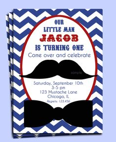 Little Man Mustache Invitation Printable - Mustache Bash for Birthday, Baby Shower, etc. $15.00, via Etsy.