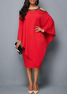8b820f2e2d8 Long Sleeve Zipper Back Cold Shoulder Dress | Rosewe.com - USD $31.86  Women's Fashion