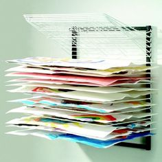 The versatile Wall Mount Art Drying Rack is perfect for drying, storing and organizing the masterpieces of the budding Monet, Picasso or Van Gogh in your classroom, especially if you are short on counter or floor space. Art Studio Storage, Art Studio Organization, Art Storage, Storage Units, Paper Storage, Storage Rack, Home Art Studios, Art Studio At Home, Craft Studios