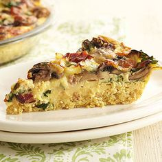 Hearty Vegetable, Bacon, and Quinoa Quiche #myplate #vegetable #grain #protein