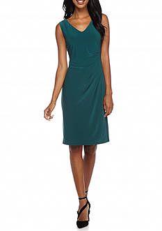 Anne Klein Side Pleated Jersey Dress