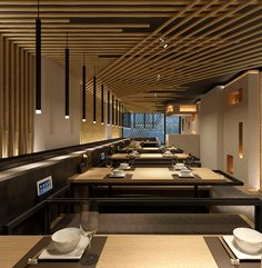 Kawa Japanese Restaurant in London by Golucci International Design Japanese Restaurant Interior, Japanese Interior Design, Restaurant Interior Design, Shop Interior Design, Cafe Design, Deco Restaurant, Modern Restaurant, Restaurant Lighting, Restaurant Concept