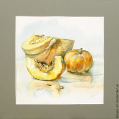 Купить Тыквы - оранжевый, тыква, акварель, акварельная картина, акварельная живопись, акварельный рисунок