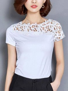 Blouse Styles, Blouse Designs, Party Dresses Online, Shirt Bluse, Blouse Online, Lace Tops, Refashion, Affordable Fashion, Blouses For Women