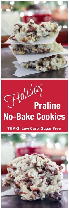 Holiday Praline No-Bake Cookies (THM-S, Low Carb, Sugar Free)