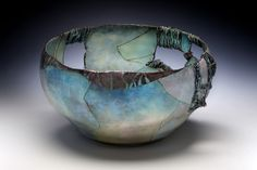 blue - bowl - enamel on metal - Judy Stone Pottery Bowls, Ceramic Pottery, Pottery Art, Thrown Pottery, Slab Pottery, Pottery Studio, Glass Ceramic, Ceramic Clay, Ceramic Bowls