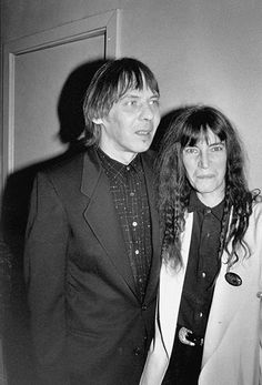 """Patti Smith with her husband Fred """"Sonic"""" Smith at Arista Record's, 1990"""