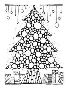 Christmas tree coloring page. Printable coloring pages for the holidays hand drawn by Jennifer Stay and available for download at Coloring Pages Bliss