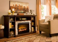 """If you love a fire's cozy ambiance but not the hassling prep work, try this Merrick 65"""" TV console with 25"""" electric fireplace to warm up your living space."""