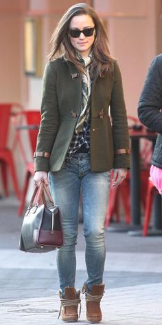 December 20, 2011 - It was casual day for Pippa Middleton at the office. Her latest outfit included her Fay olive green coat, washed denim, a checked Maje shirt, shearling booties, and a Loewe bag.