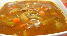 Deliciosa clássica sopa portuguesa, pode-se adicionar massa perto do fim para tornar ainda mais rica. Normalmente servida com pão de milho. Receita de Sopa Alentejana Ingredientes Toucinho - 250 gr Nabo - 500 gr Batata - 300 gr Cenoura - 200 gr Sal - Uma Pitada Pimenta - Uma Pitada Instruções Em 2 litros de água leva-se ao lume com o toucinho, as batatas e as cenouras. Logo que as batatas estiverem cozidas esmagam-se aos pedaços com um garfo e leva-se de volta para a panela. Junta-se os… Portuguese Rice, Portuguese Recipes, Soup Recipes, Cooking Recipes, Soup Dish, Snack, Thai Red Curry, Food Porn, Food And Drink