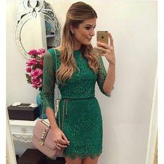 Vestido Festa Renda Verde