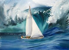 Sailing yacht in a storm Watercolour by Eugenia Gorbacheva Original Artwork, Original Paintings, Boat Art, Yacht Boat, Spray Painting, Impressionist, Sailing Ships, Fine Art America, Watercolor