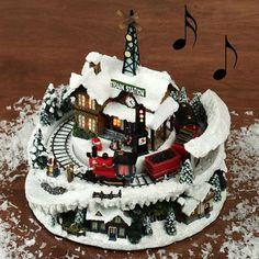 Marvelous Avon Christmas Fiber Optic Village With Train Toge Til Juleby Easy Diy Christmas Decorations Tissureus