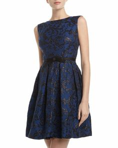 Shimmer Jacquard Bow-Belt Dress by Taylor at Neiman Marcus Last Call.